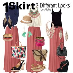 1 Rose Maxi Skirt, 3 Different Looks