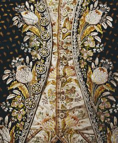 Detail of a gentleman's full dress suit, comprising coat, waistcoat and breeches, 1780s-90s (textile), English School, (18th century) / Private Collection / Photo © Christie's Images / The Bridgeman Art Library