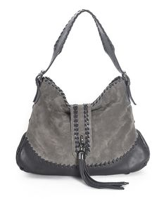 Loving this Carla Mancini Gray Whipstitch Tassel Leather Hobo on #zulily! #zulilyfinds