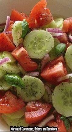 ingredients: 3 medium cucumbers, peeled and sliced inch thick 1 medium onion, sliced and separated into rings 3 medium tomatoes, cut into wedges cup vinegar cup sugar 1 cup water 2 teaspoons salt 1 teaspoon fresh coarse ground black pepper Marinated Cucumbers, Cucumbers And Onions, Cucumber Tomato Salad, Cucumber Salad Vinegar, Cucumber Recipes, Cucumber Snack, Cucmber Salad, Vinegar Cucumbers, Italian Salad Recipes