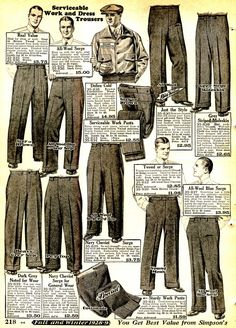 1920s Mens Oxford Bags, Plus Four Knickers and Overalls - Working class pants and gentlemen's sport pants were interchangeable. Sturdy materials were the name of the game for men's work or play. http://www.vintagedancer.com/1920s/mens-pants-history/