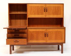 1970s G plan teak sideboard /wall unit, exceptional quality, solid teak wood with a light golden glow, classic, minimal Danish design, British