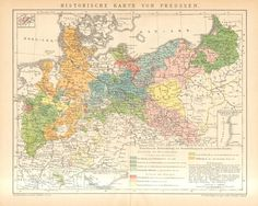1895 Antique Historical Map of Prussia