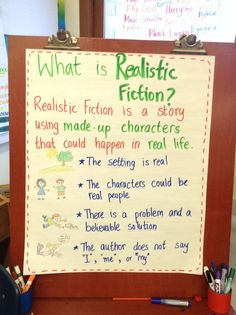 The genre of my book is realistic fiction. It definitely could happen to someone. But the story is based on a family that doesn't exist. Fiction Anchor Chart, Genre Anchor Charts, Anchor Charts First Grade, Narrative Writing, Fiction Writing, Informational Writing, Writing Process, Lucy Calkins Writing, Genre Study