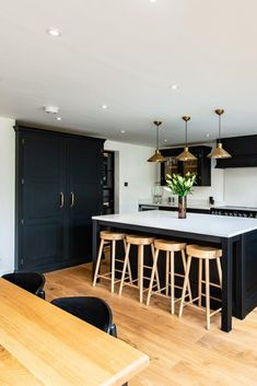 Bespoke Kitchen Larder - Handpainted in Mylands Downing Street - Brass Handles - Dark Kitchen Kitchen Family Rooms, Living Room Kitchen, Home Decor Kitchen, Kitchen Interior, Home Kitchens, Dark Kitchens, Kitchen Ideas, Small Kitchens, Kitchen Trends