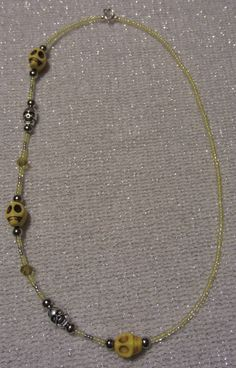 Yellow Howlite Gemstone Skull Bead Necklace by SummerCAmber, $11.00