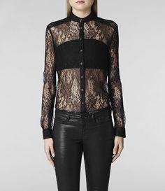 Womens Lace Leus Shirt (Black) | ALLSAINTS.com
