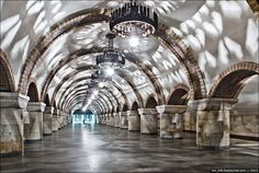 """Zoloti Vorota"" (""The Golden Gate"") underground station in Kyiv, Ukraine"