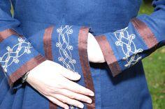 Sam's Viking Dress - Hem & Cuff View w/Embroidery - Othala Craft