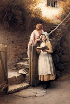 'The Story Book' by English painter Charles Edward Wilson Painter of rustic genre subjects in watercolor. Reading Art, Woman Reading, I Love Reading, Wilson Reading, Paintings I Love, Beautiful Paintings, Charles Edward, Munier, Lectures
