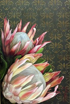 Flower Painting Canvas, Painting Flowers, Art Flowers, Flower Art, Protea Art, Protea Flower, Painting Inspiration, Art Inspo, Halloween 1