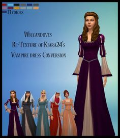 Medieval recolors of Kiara24s Vampire Dress by Wiccandove at SimsWorkshop via Sims 4 Updates