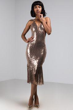 3bef778f2ffac5 AKIRA Label Plunging Neckline Sequin Fringe Bodycon Midi Dress in Rose Gold