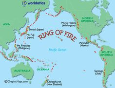 This photo marks the volcanoes in the Ring of Fire, which is the home of 452 volcanoes. In this photo, the red triangles each represent different volcanoes amongst the Ring of Fire. --Sarah Hayes