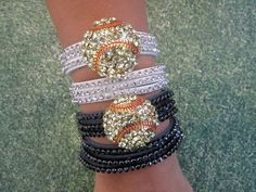 Leather Wrap Bling Softball Bracelet by sportyliciousmama on Etsy, $21.00