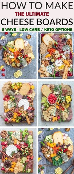 How to Make the Ultimate Charcuterie and Cheese Boards - 6 ways – perfect easy party appetizer tray to make in less than 20 minutes. Everything you need to know to easily build the best charcuterie board plus awesome tips & tricks including 2 low carb / Meat And Cheese Tray, Keto Cheese, Cheese Platters, Food Platters, Goat Cheese, Cheese And Cracker Tray, Simple Cheese Platter, Charcuterie Recipes, Charcuterie Platter
