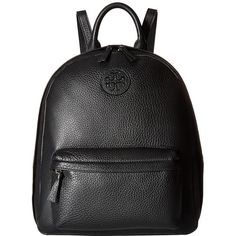 Tory Burch Leather Backpack (Black) Backpack Bags ($395) ❤ liked on Polyvore featuring bags, backpacks, genuine leather backpack, logo backpacks, day pack backpack, leather strap backpack and real leather backpack