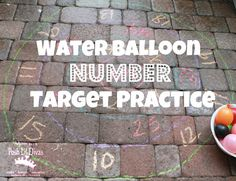 So many ways to Play to Learn with this Water Balloon Target Practice Game (numbers, letters, math facts, sight words & more). What would you practice?