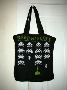 Space Invaders tote bag - KNITTING... I think I could do this in a crocheted Afghan stitch and then cross stitch the pattern onto the tote. May not look as finished, but it's an option because knitting is not one! Ha!