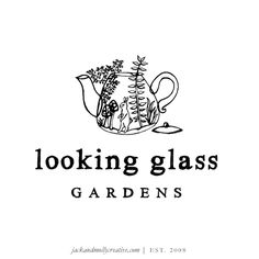 Looking Glass Gardens custom logo design featuring a drawing inspired by alice in wonderland