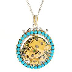 148-137- Gems en Vogue Sleeping Beauty Turquoise & Chrome Diopside Panther Pendant w/ Chain