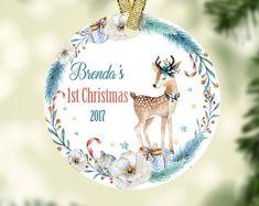 Baby First Christmas Ornament, Babies First Christmas, Christmas 2017, Christmas Bulbs, Decorative Plates, Holiday Decor, Etsy, Christmas Light Bulbs