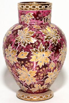 MOSER ENAMELED CRANBERRY GLASS VASE : Lot 121191