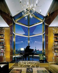 Conceived by AD100 designer Peter Marino, this penthouse occupies the entire 52nd floor of New York's iconic I. M. Pei–designed hotel and features dramatic 12-foot ceilings and four cantilevered, glass-enclosed balconies—the highest in the world. Bespoke furnishings and art were all selected by Marino and Pei and include pieces by Claude and François-Xavier Lalanne; a custom-made four-poster swathed in Syrian-inspired woven silk; and rare 18th- and 19th-century Chinese artifacts. There's a…