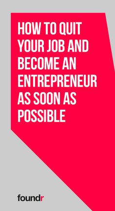 Before you go ahead and quit your job, make sure you have the right plan in place to become an entrepreneur with this handy guide! Business Advice, Start Up Business, Business Entrepreneur, Starting A Business, Online Business, Business Coaching, Business Class, Business Quotes, Foundr Magazine