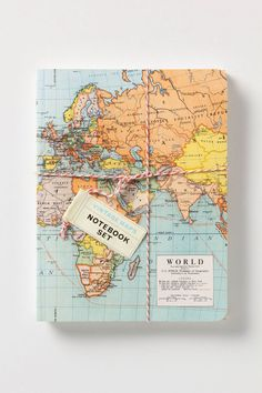 vintage map notebook ~ perfect for a travel journal! Vintage Notebook, Map Globe, Vintage Maps, Antique Maps, Digital Scrapbook Paper, Book Binding, Travel Gifts, Travel Things, Travel Stuff