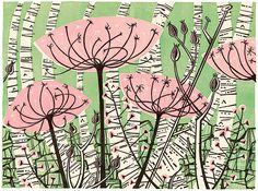 Ballindalloch - linocut by Angie Lewin - http://www.angielewin.co.uk