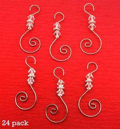 6 Swirled Christmas Decoration Photo Ornament Hooks Beaded Hangers