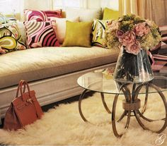 Fashion designer Jacqueline Appel's lovely home with custom Pucci scarf pillow shams.