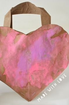 A recycled paper bag heart purse made with a lot of love - super easy to make!
