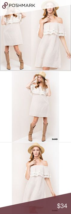 Sand Striped Crochet Detail Dress Sand Striped Crochet Detail Dress  Sand and white colored dress with crochet detail.   Small: 2/4 Medium: 6/8 Large: 10/12  ❗️Price is firm unless bundled❗️ Dresses