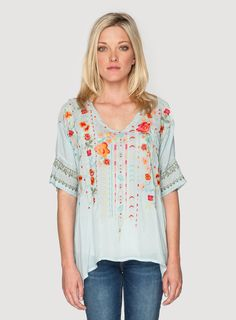 Johnny Was Clothing embroidered rayon georgette Armineh Blouse in Sea Mist Blue