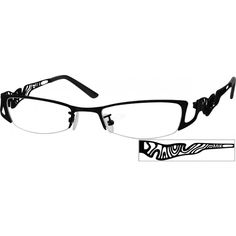 A medium narrow size, hypoallergenic stainless steel frame with design on temples....Price - $23.95