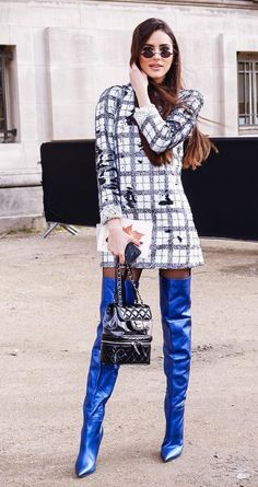 Metallic blue leather thigh boots outfit
