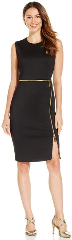 A #LBD to take you from the office to a night out Calvin Klein Zipper Scuba Sheath Dress