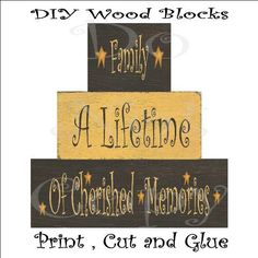 Family Chunkie Wood Block Sign , Printable Craft , Decoupage Sheet , DIY project. $2.50, via Etsy.