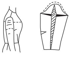 Illustration depicting pattern alteration of bodice for small arm