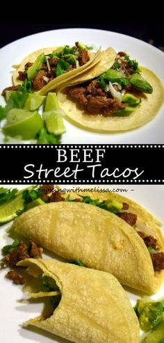 Beef Street Tacos - So quick and easy to make these and so much flavor!  Everyone loves these tacos!   http://www.cookingwithmelissa.com/recipe/beef-street-tacos