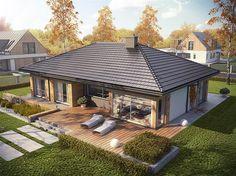projekt Dominik wersja A Modern Bungalow House Design, House Roof Design, Village House Design, Duplex House Design, Bungalow House Plans, Village Houses, Small House Design, Modern House Plans, Facade House