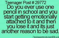 Yep. I had a pencil I managed to keep through 3/4 of the school year. I loved that pencil. But then I lost it to a selfish friend who shared it for no reason. Hes not my friend anymore.