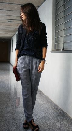 Pijama pants  #outfit , Mango in Blazers, Stradivarius in T Shirts, Zara in Pants, Gloria Ortiz in Heels / Wedges, Primark in Clutches