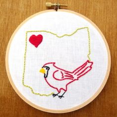 State Patterns Archives - Page 3 of 4 - Wandering Threads Embroidery Embroidery Stitches Tutorial, Bird Embroidery, Modern Embroidery, Cross Stitch Embroidery, Embroidery Patterns, French Knot Stitch, Map Wall Art, Cross Stitching, Ohio