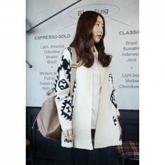 $10.78 Geometric Print Long Sleeves Casual Style Acrylic Jacket For Women