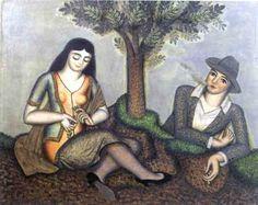 Antonín Procházka - Milenci vpřírodě, 1926 Female Painters, Small Sculptures, Cubism, Anton, Fine Art, Artwork, Artist, Painting, Work Of Art