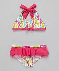 Pink Sea Horse Ruffle Bikini - Infant, Toddler & Girls by Rugged Bear #zulily #zulilyfinds