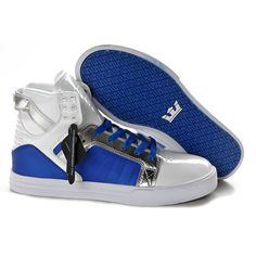 Supra Skate Shoes Skytop White Silver Blue